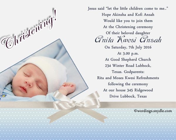 Christening invitation wording samples wordings and messages chriseting invitation wordings sample stopboris Gallery