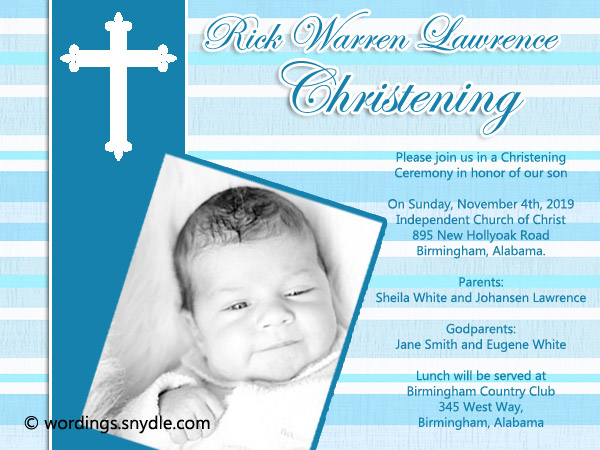Christening Invitation Wording Samples Wordings And Messages - Birthday invitation message for son