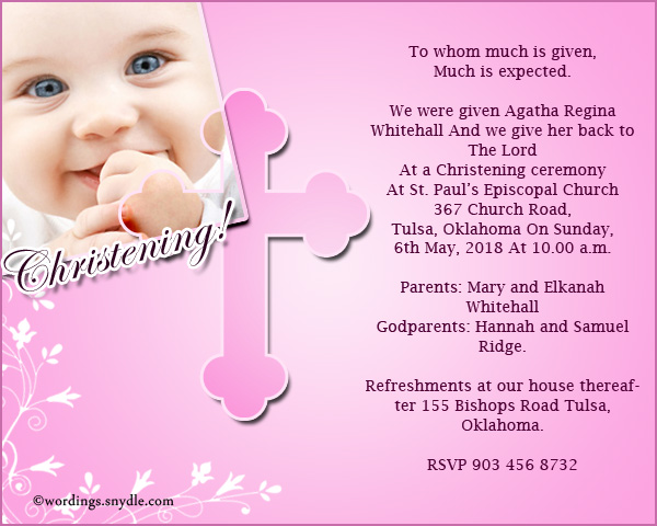Christening invitation wording samples wordings and messages christening invitation wordings stopboris Images
