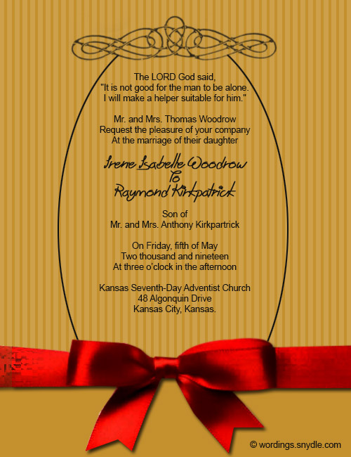 Christian Wedding Invitation Wording Samples Wordings and Messages – Example of Wedding Invitation Cards