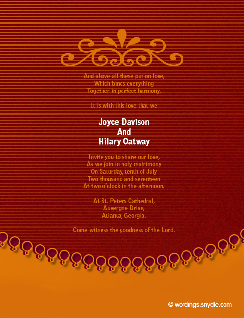 Christian Wedding Invitation Wording Samples 04