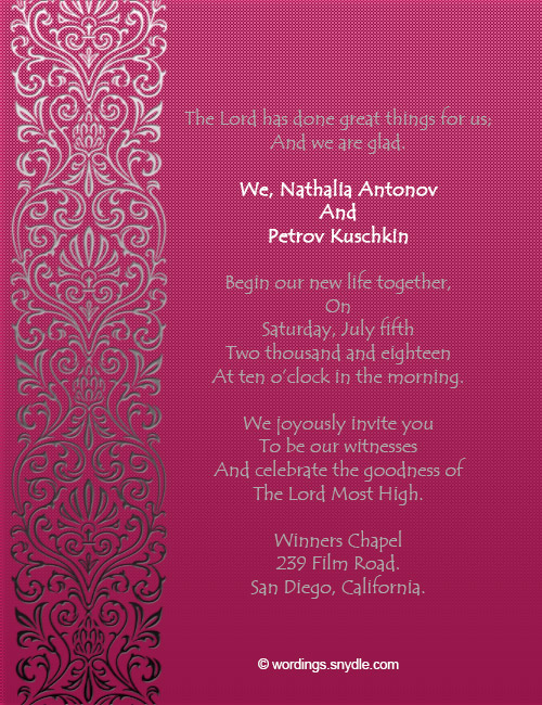 Ideas For Wedding Invitation Wording Christian : Christian Wedding Invitation Wording Samples - Wordings and Messages