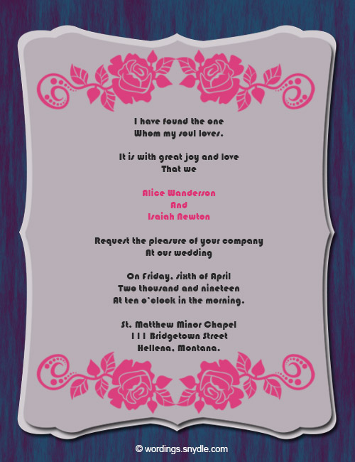 Image Of Wedding Invitations Wording Samples