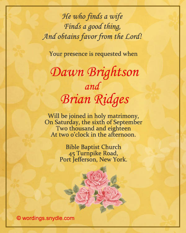 Wonderful Christian Wedding Invitation Wording Samples