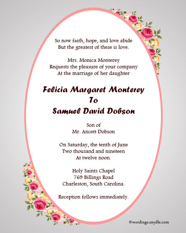 Christian Wedding Invitation Wording Samples