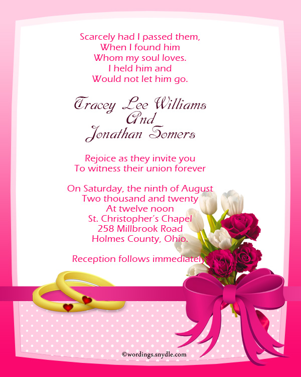 Christian wedding invitation wording samples wordings for Wedding invitation quotes in english for sister marriage