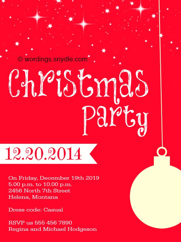 Christmas Party Invitation Wordings Wordings and Messages – Invitations to Christmas Party