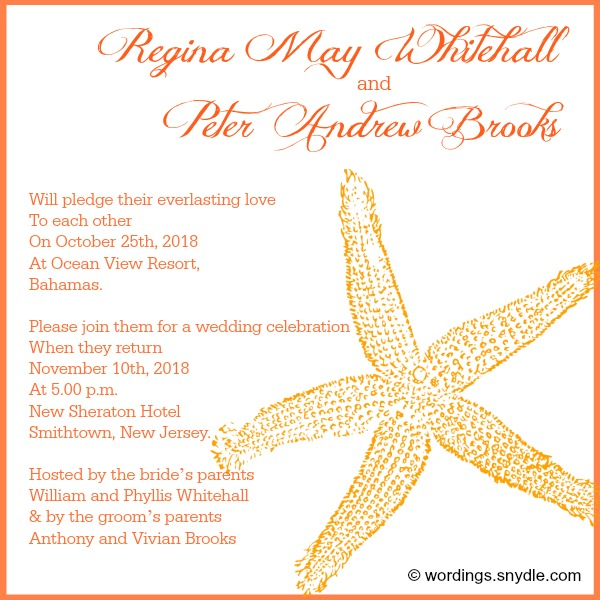 Destination Wedding Invitation Wording Samples Wordings and Messages