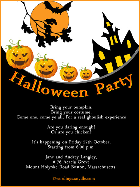 Halloween party invitation wording wordings and messages halloween celebration invitation cards stopboris Choice Image