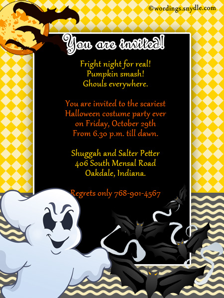 Halloween Party Invitation Wording Wordings and Messages – Halloween Birthday Invitation Wording