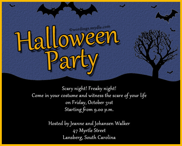 Halloween party invitation wording wordings and messages halloween invitation wordings stopboris Choice Image