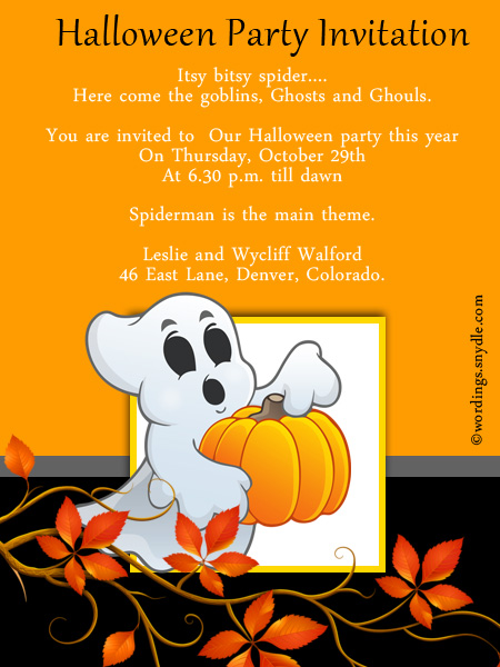 Halloween party invitation wording wordings and messages halloween party celebration invitation cards stopboris Image collections
