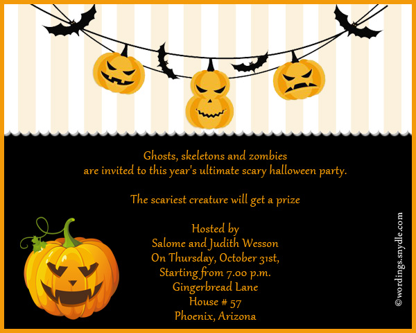 Halloween Party Invitation Wording Wordings and Messages – Halloween Party Invites Wording