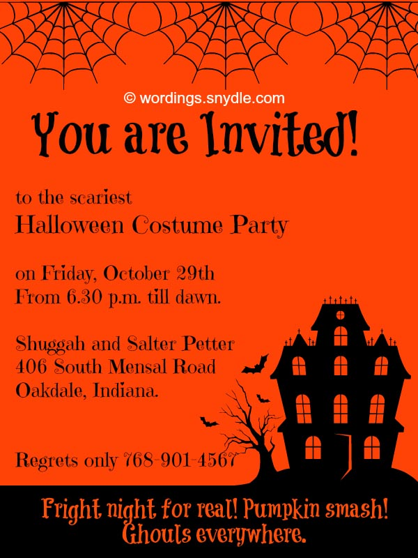 halloween party invitation wordings