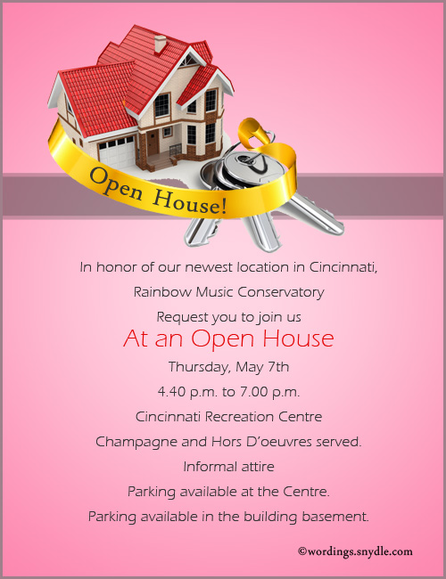 Open House Invitation Wording Samples Wordings and Messages