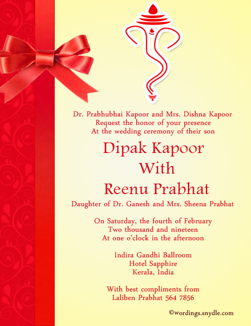 Indian Wedding Invitation Wording Samples - Wordings and Messages