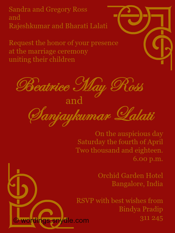 Indian Wedding Invitation Wordings Samples
