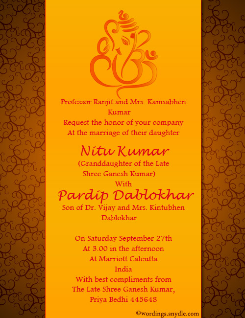 Indian Wedding Invitation Wording Samples - Wordings and ...