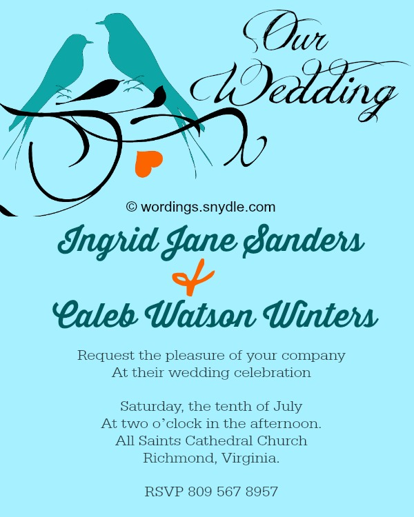 Informal Wedding Invitation Wording Samples - Wordings and Messages