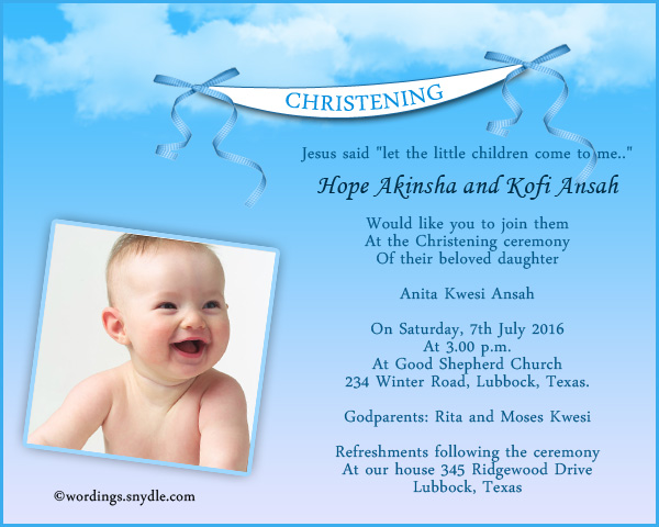 Christening invitation wording samples wordings and messages invitation wordings for christening greetings stopboris Image collections