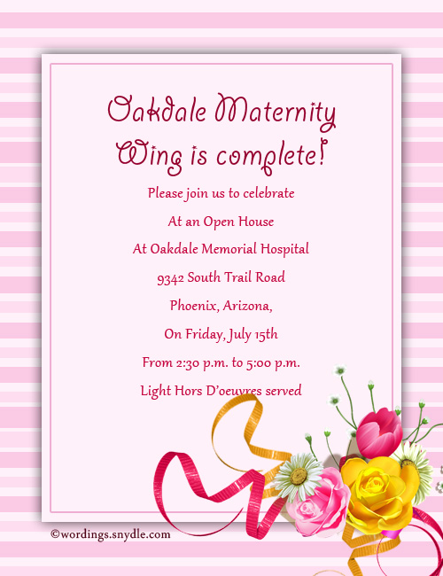 Open house invitation wording samples wordings and messages open maternity invitation wordings stopboris Choice Image