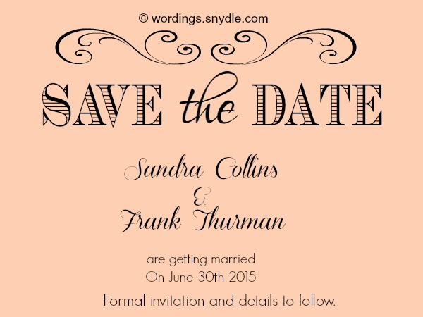Save The Date Wording Samples