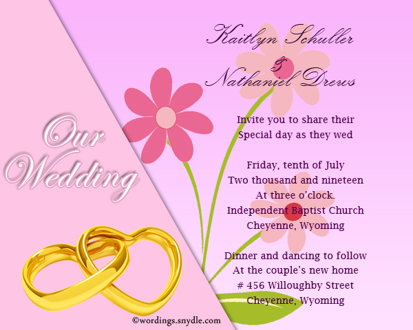 Wedding Invitation Card Sample: Words On Wedding Invitations