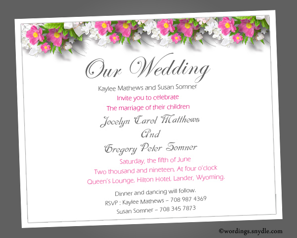 Wedding Invitation Wordings Sample