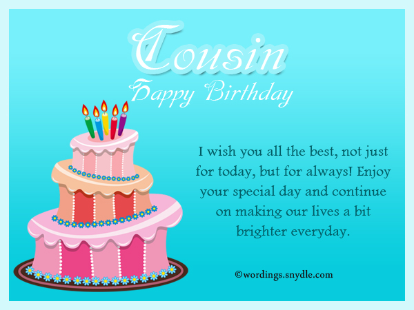 Birthday Wishes For Cousin  Wordings And Messages