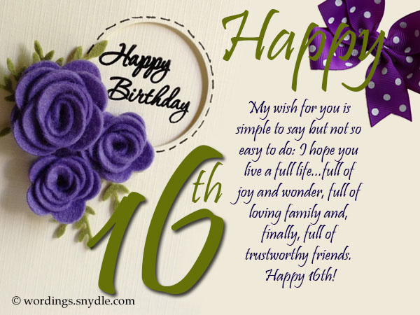 16th Birthday Wishes Messages and Greetings Wordings and Messages