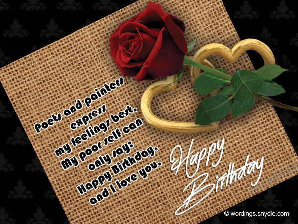 romantic birthday wishes, messages for him and her  wordings and, Birthday card