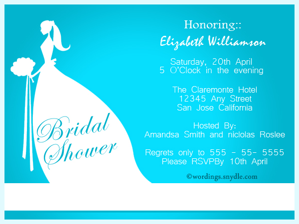 Wedding Shower Invitation Wording Samples Wordings and Messages