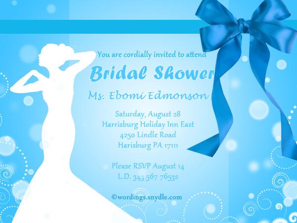 Wedding Shower Invitation Wording Samples Wordings and Messages – Sample of Bridal Shower Invitation