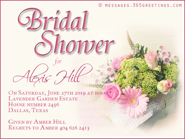 Wedding Shower Invitation Wording Samples  Bridal Shower Invitation Samples