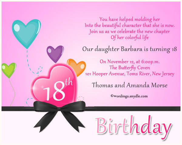 18th Birthday Party Invitation Wording Wordings and Messages – Invitation Sayings for Birthday