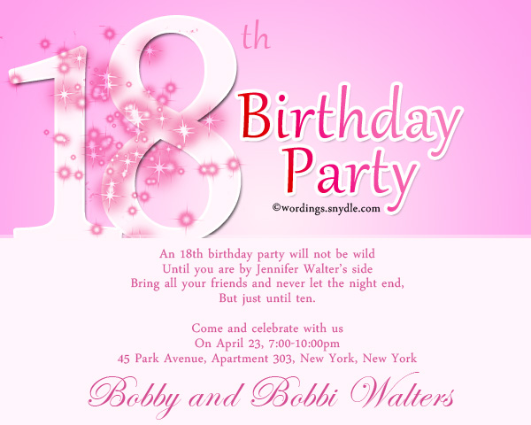 Th Birthday Party Invitation Wording Wordings And Messages - 18th birthday invitations wording ideas