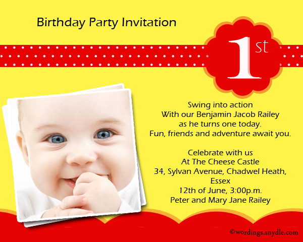 1st Birthday Party Invitation Wording Wordings and Messages