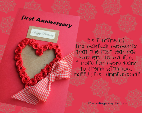 1st wedding anniversary messages wordings and messages