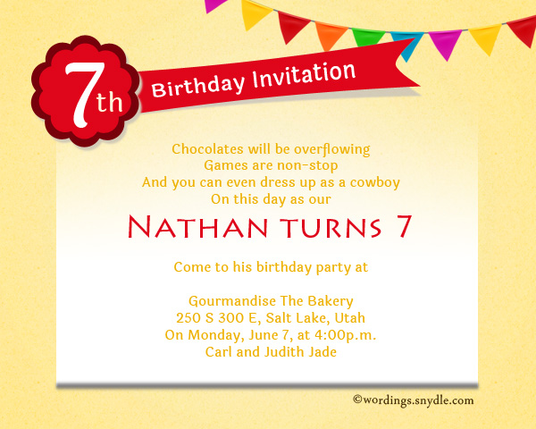 7th Birthday Party Invitation Wording Wordings and Messages – Party Invitation Message