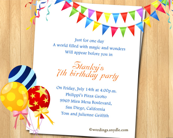 7th Birthday Party Invitation Wording Wordings and Messages – Invitation for the Birthday Party