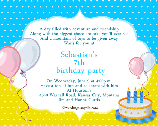 7th Birthday Party Invitation Wording Wordings and Messages – Sample Party Invitation Card