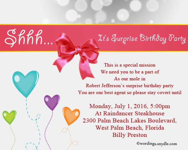 Surprise Birthday Party Invitation Wording - Wordings and ...