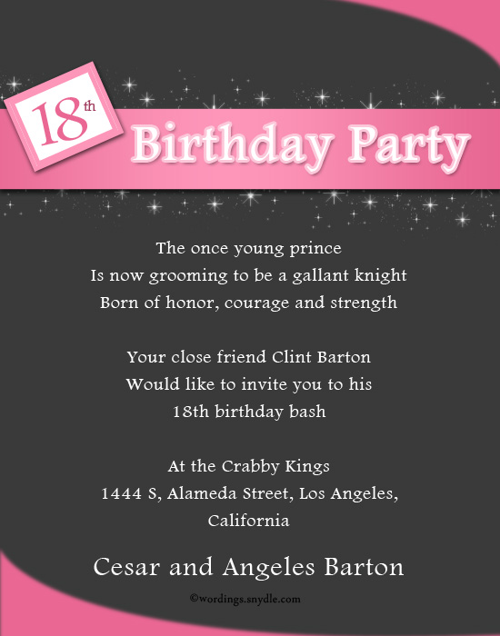 18th birthday party invitation wording wordings and messages 18th birthday celebration invitation greetings filmwisefo Image collections