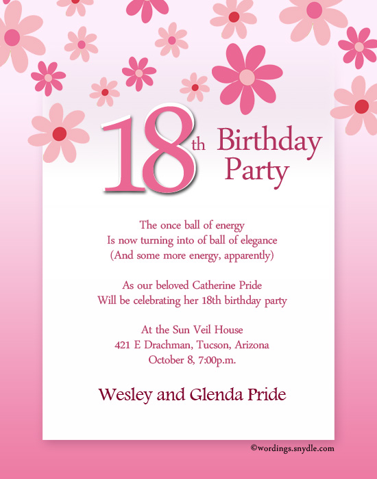18th Birthday Party Invitation Wording Wordings and Messages – Birthday Party Invitation Letter Sample