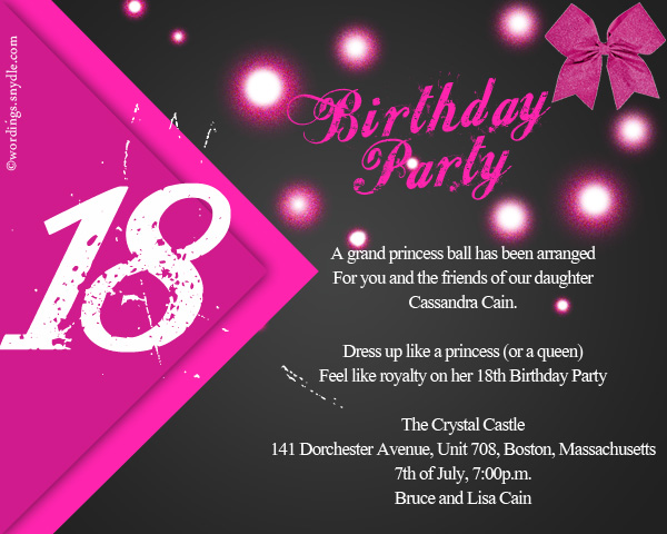 18th Birthday Party Invitation Wording Wordings and Messages – Birthday Party Invitation Words