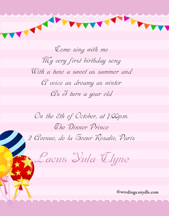 1st birthday party invitation wording wordings and messages 1st birthday invitation cards for girl stopboris Gallery