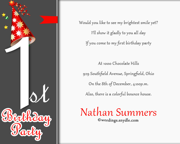 1st birthday party invitation wording wordings and messages 1st birthday party invitation cards stopboris Gallery