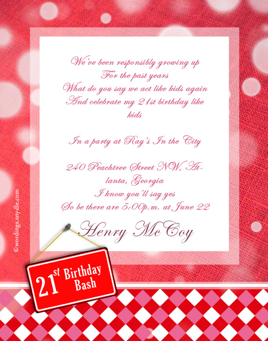 21 birthday invitation wording Minimfagencyco