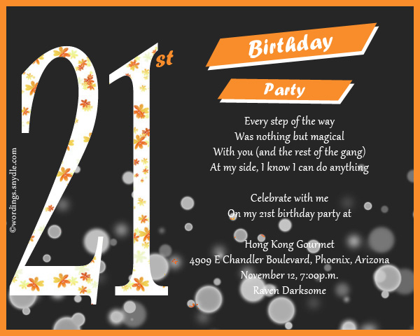 21st Birthday Party Invitation Wording Wordings and Messages – 21st Invitation Cards