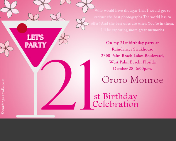 21st Birthday Party Invitation Wordings